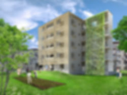 URHa 共同住宅 マンション 改装 リフォーム 5階建て RC コンクリート造 東京都 足立区 シンプル ナチュラル 外観 緑
