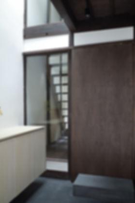 大心院の家 改装 リフォーム 住宅 町家 2階建 木造 京都府 京都市 シンプル 和モダン 玄関 土間 吹抜け
