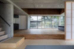 曽根の家 新築 住宅 2階建 RC コンクリート造 コンクリート打放し 関西 木造 大阪府 豊中市 シンプル 和モダン リビング