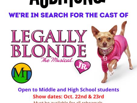 Legally Blonde Jr. AUDITION Announcement!