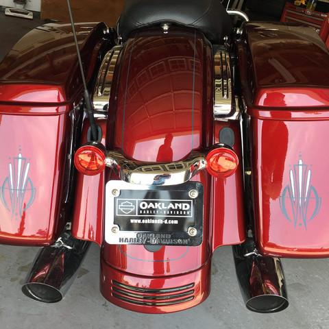 Silver leaf desgin on a Harley