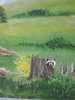 Racoon Painted On Mural