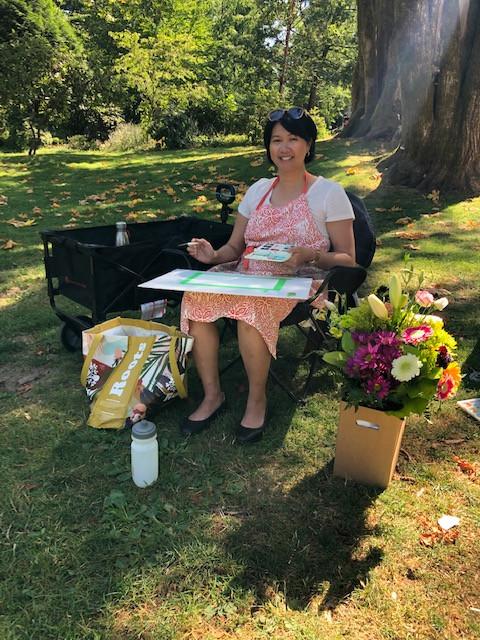 Mylene Receiving Flowers on August 4, 2020 for Website Creation