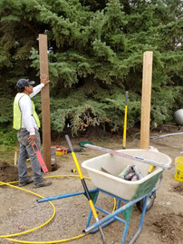 Posts up and ready for the rest of the pergola.