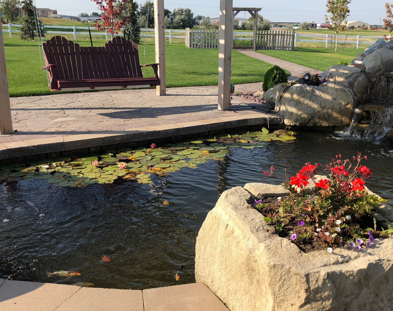 A combination of hardsacpe and water features, makes for an idyllic place to be.