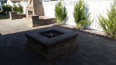 Added a beautiful gas burning fire pit to the other side of the addition.