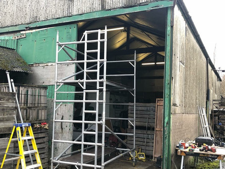 Steelwork preparation for new electric roller shutter