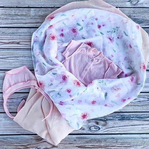 Муслиновая пеленка из 100% бамбука Розы Акварель