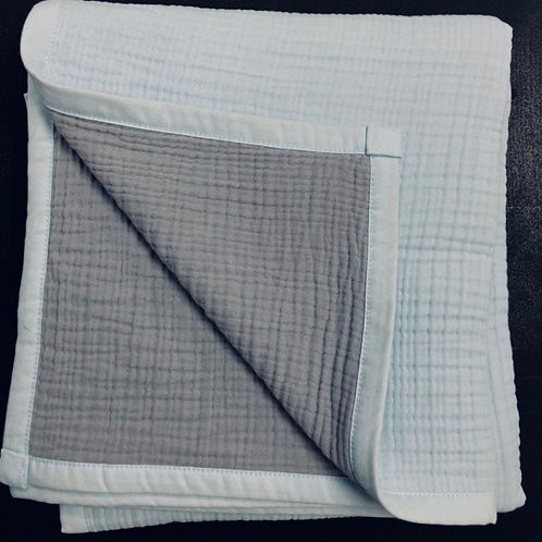 Муслиновое одеяло 8 слоев двустороннее Серебро на сером