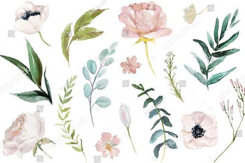 Муслиновая пеленка из бамбука  Акварельные цветы, анемоны&розы