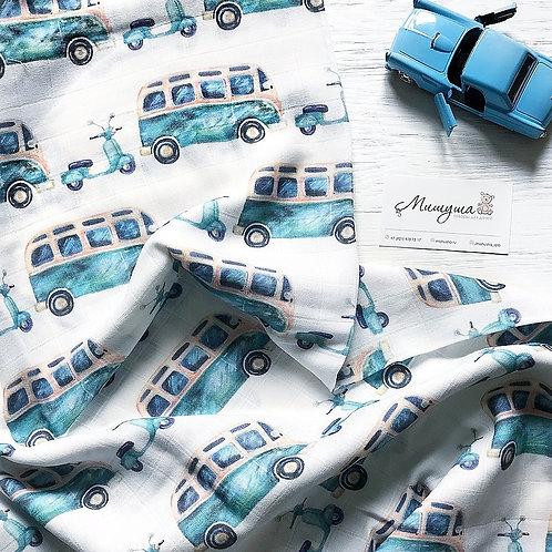 Муслиновая пеленка Авто