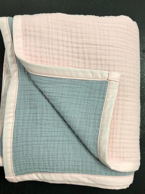 Муслиновое одеяло 8 слоев двустороннее Нежно-розовый-серебро