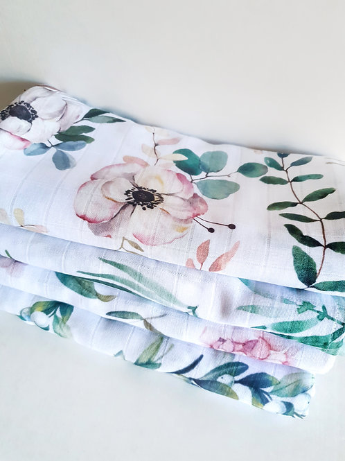 Муслиновая пеленка из бамбука Цветы нежные