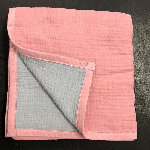 Муслиновое одеяло 8 слоев двустороннее Розовый-серебро