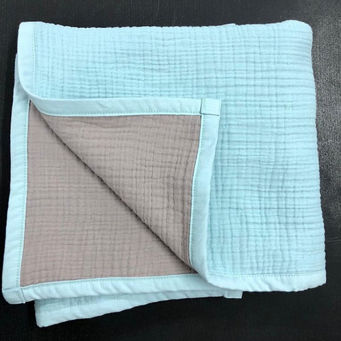 Муслиновое одеяло 8 слоев двустороннее Бирюзовый-серебро