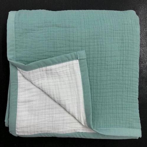 Муслиновое одеяло 8 слоев двустороннее Эвкалипт на белом