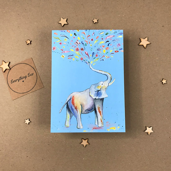 Eli The Elephant - Blue Background Card