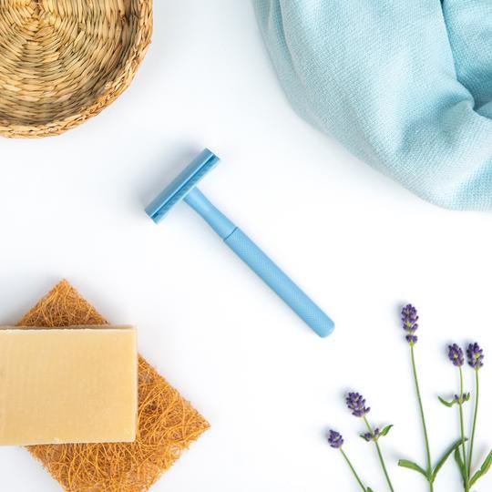 Reusable Safety Razor - Pale Blue - Shoreline Shaving