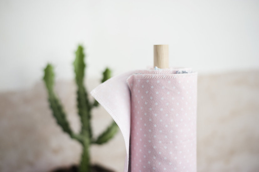 Reusable Cloth Wipes - Polka Dot Blush Pink - 6 Pack - Vesta Living