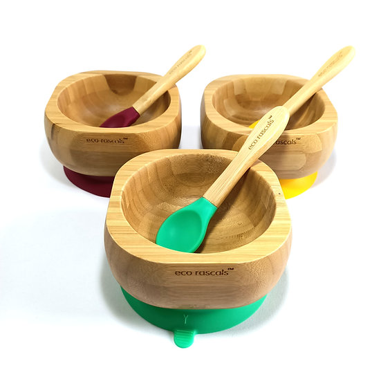 BambooSuction Bowl and Spoon Set - Eco Rascals