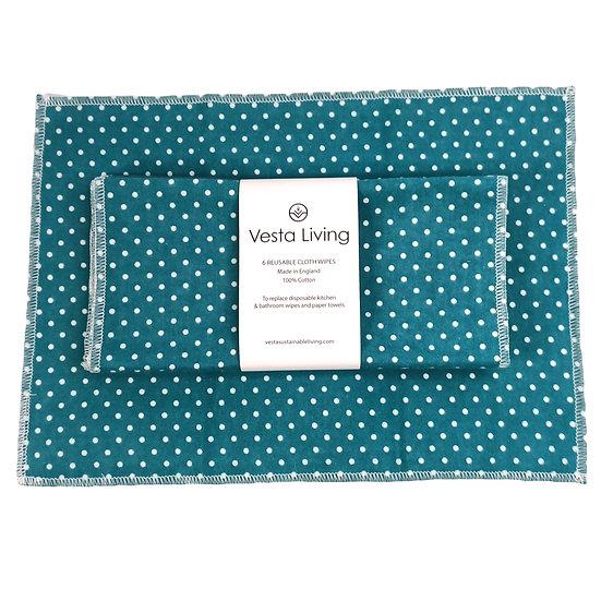 Reusable Cloth Wipes - Polka Dot Teal - 6 Pack - Vesta Living