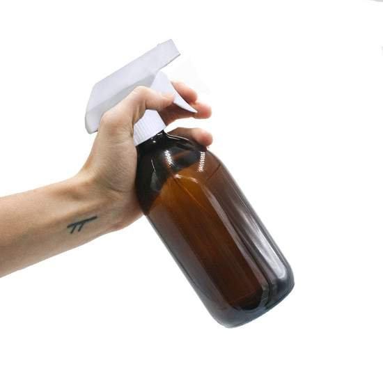 Glass Spray Bottle - Amber - White Spray - 500ml