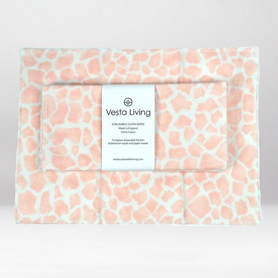 Reusable Cloth Wipes - Pink Giraffe - 6 Pack - Vesta Living