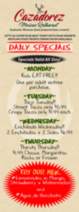 Cazadorez New Items-Daily Specials_   bl