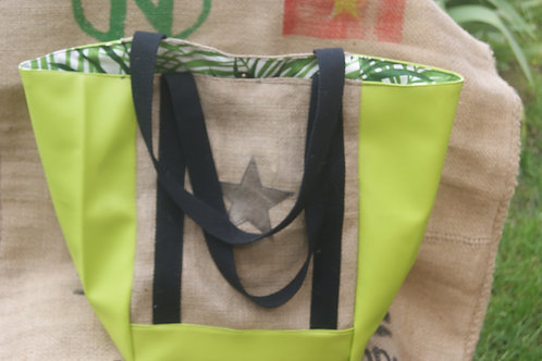 grand sac cabas en toile de jute vert flashy intérieur verdure