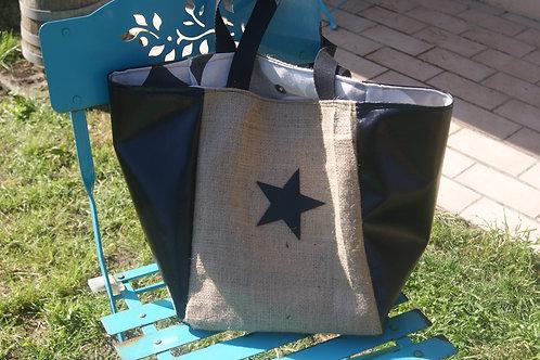 grand sac cabas étoile noire