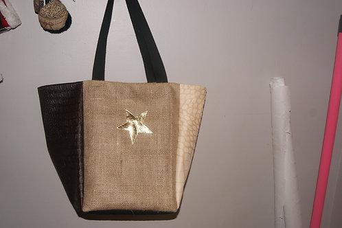 grand sac cabas en toile de jute et simili cuir marron