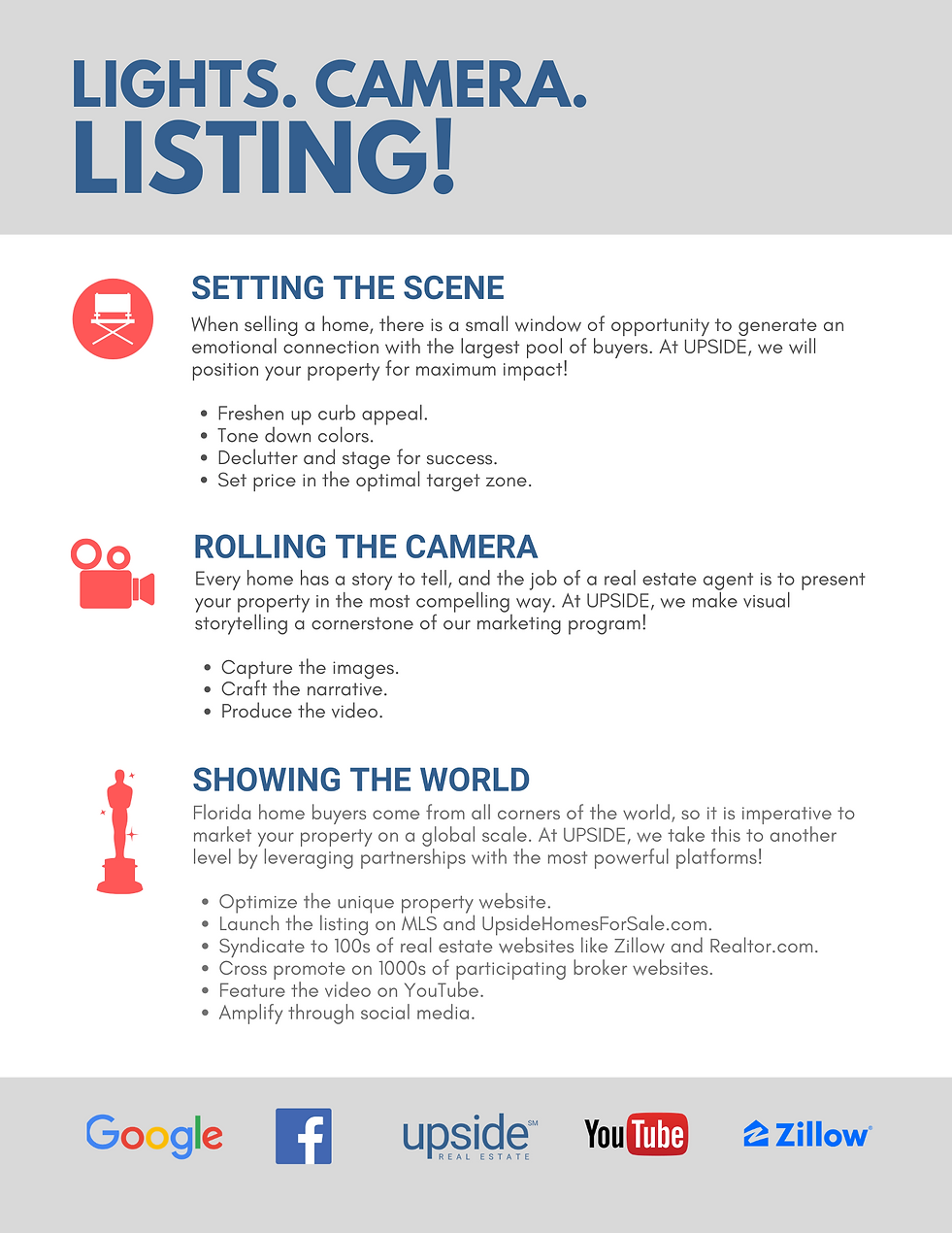 "Listing program flyer entitled ""Lights. Camera. Listing!"""