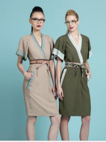 Twill Kimono Dress in Ivy & Saddle