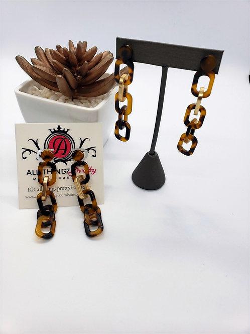 Lanna leopard print resin chain loops