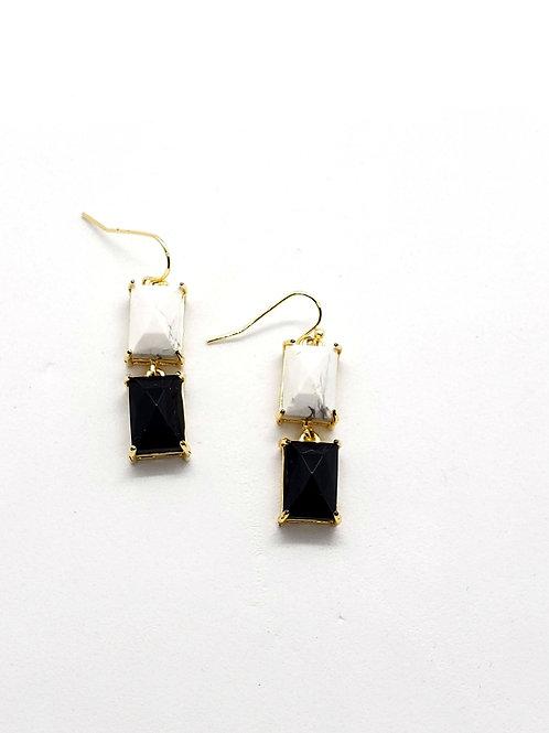 Aliyah 2 tone stone dangle earrings
