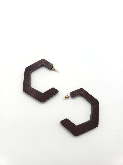 C shape wood earrings