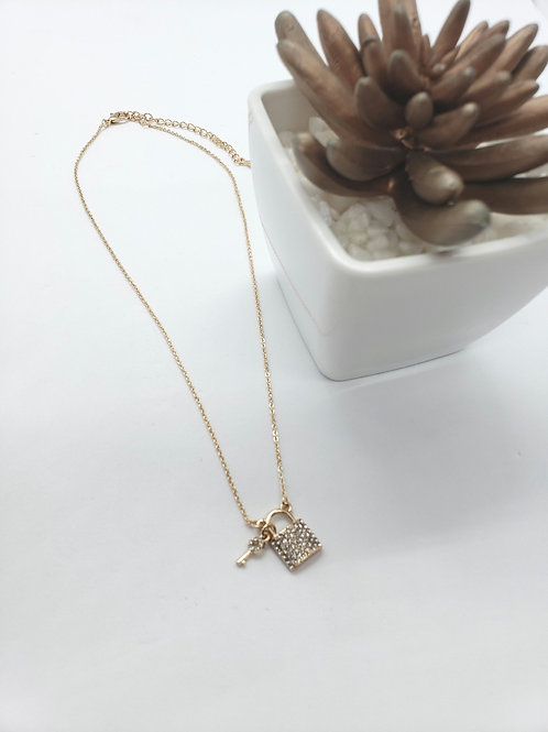 Rhinestone Key & locket charm necklace