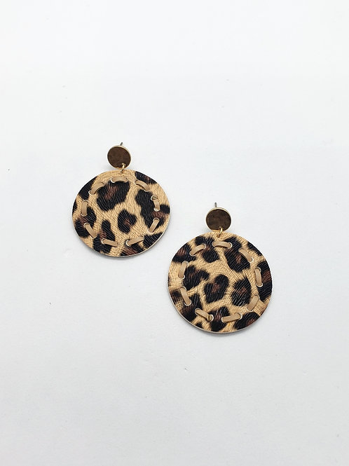 Keturi faux leather disc earrings