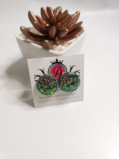 Sequin button earrings- mermaid sparkle