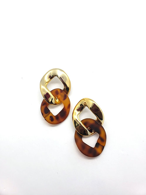 Stay Connected leopard & gold resin hoops