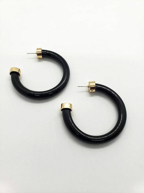 Jumbo Acrylic & gold hoops- Black