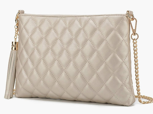 Miranda quilted bag- pearl white