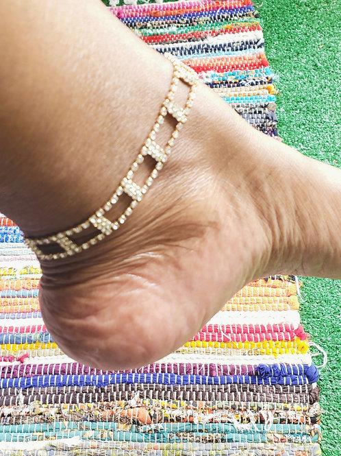 Fancy rhinestone anklet