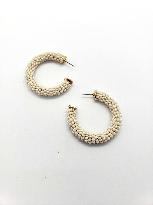 Cream & Gold beaded earrings