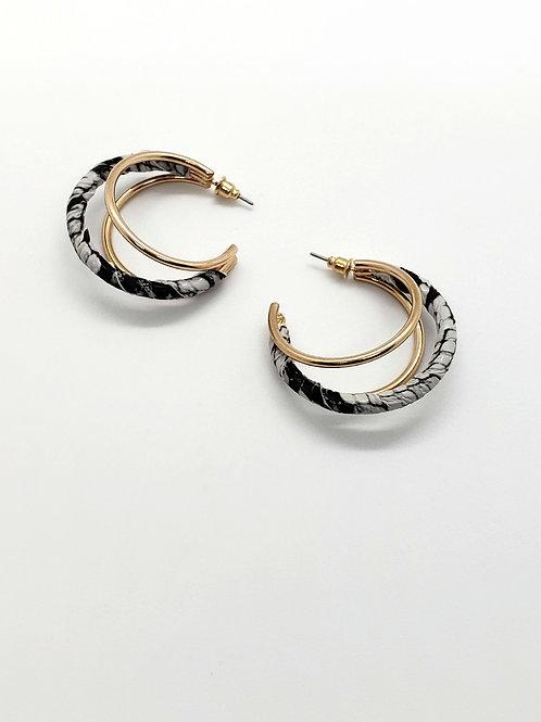 Snakeskin & gold double hoops