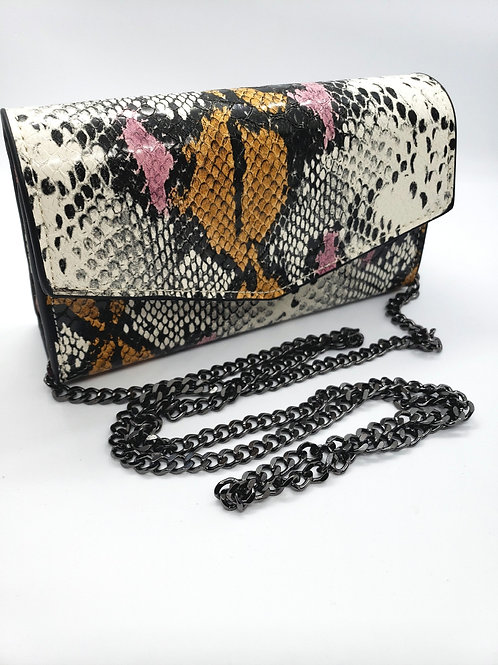 Python mini bag w/ shoulder chain strap