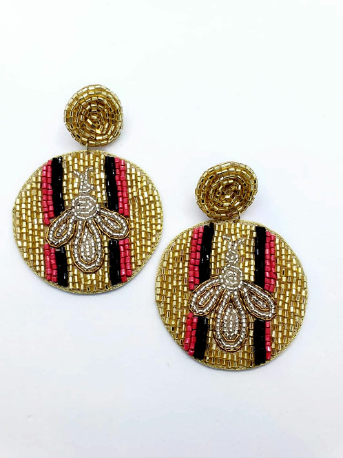 Bumble bee beaded statement earrings