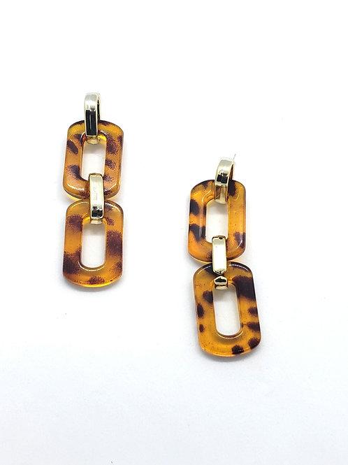 Into the wild leopard chain earrings