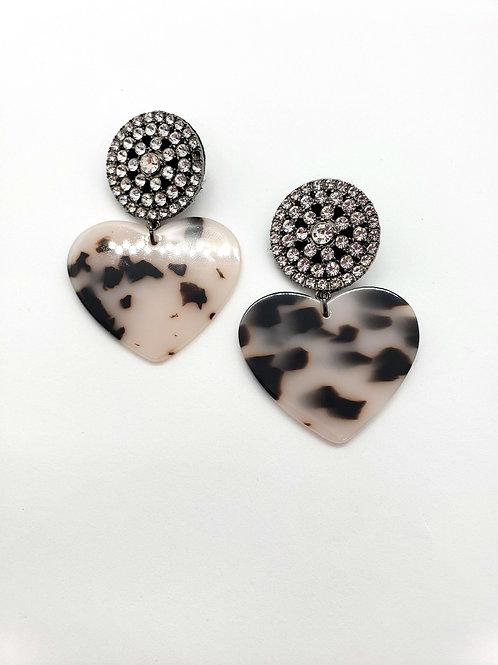 Loves stone heart statement earrings