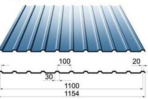 Профнастил 0,7х1100 С10 оцинкованный длиной 6000 миллиметров, Профлист оц. С-10